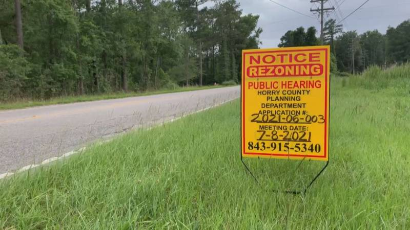 Rezoning notice of public hearing on Highway 90