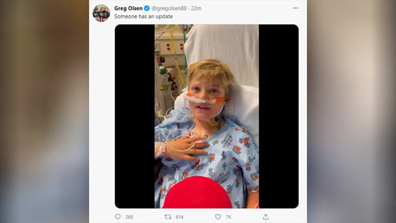 The 8-year-old son of former Carolina Panther Greg Olsen, who was born with a congenital heart...