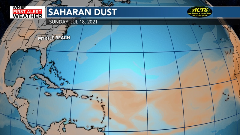 Saharan Dust continues to keep the tropics tame for now.