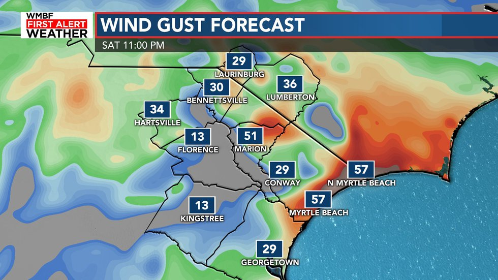 Most areas will see wind gusts of 30-40 mph, but there is a small risk of 50-60 mph gusts near...