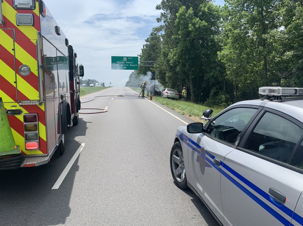 Crews were called to a vehicle fire Wednesday afternoon in the Aynor area.