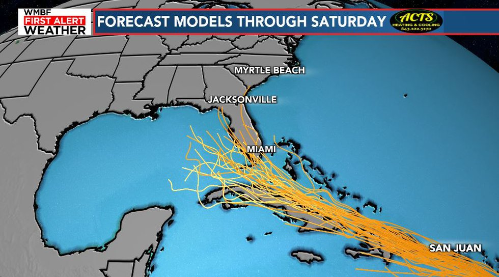 The system will track near or through the northern Bahamas this week.