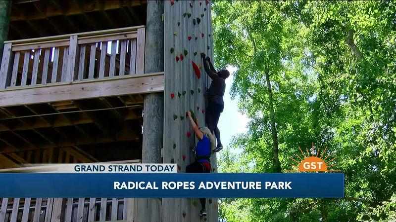 Climbing the wall at Radical Ropes Adventure Park