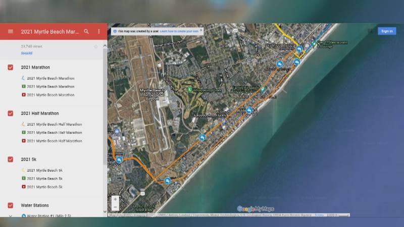 Myrtle Beach Marathon route map