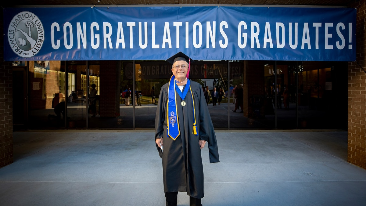 Francis Marion University says 83-year-old Frank Steinkruger earned his Masters in Business...