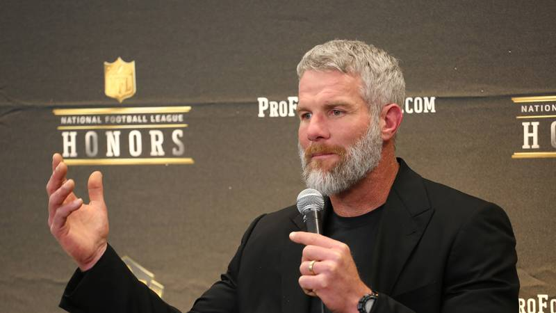 Former NFL player Brett Favre, speaks in the Hall of Fame press room at the the 5th annual NFL...