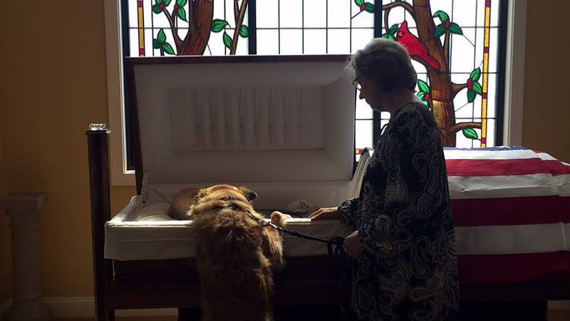 A moment displaying the bond between a man and his dog was captured at a funeral home in...