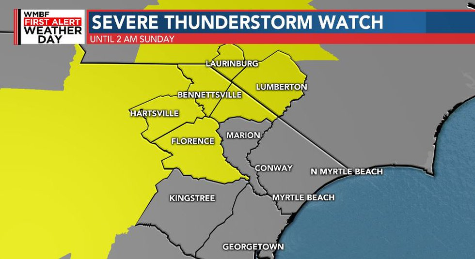 Severe Thunderstorms possible through 2AM Sunday
