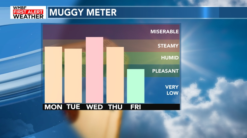 The muggy meter will continue to climb through the middle of the week before some relief...