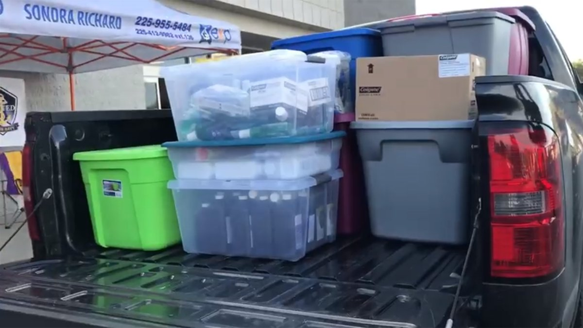 These are donations collected by the Baton Rouge Police Department, Behind the Line, and Back...