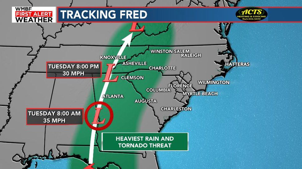 The remnants of Fred will pass well west of the region on Tuesday and Wednesday.
