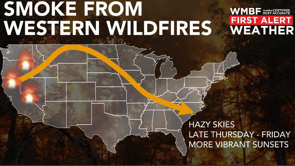 Smoke from western wildfires arrives Thursday.