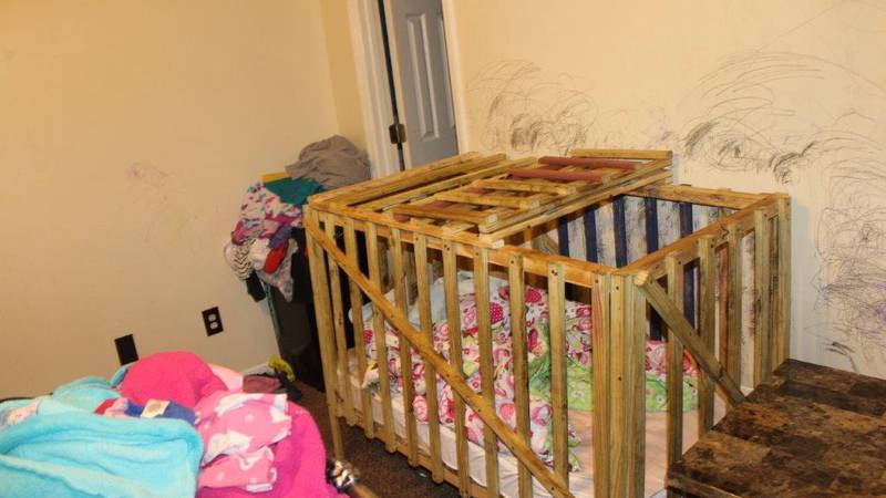 Investigators said evidence showed that children had been locked in the cages on multiple...
