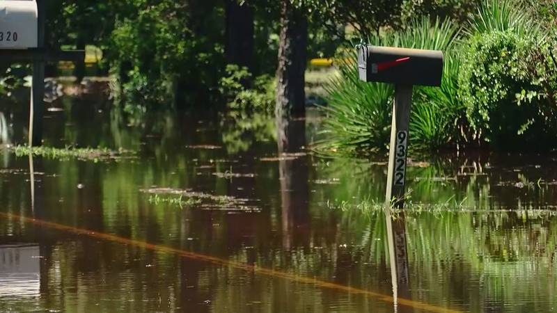 Flood water fill the street in an Horry County community.