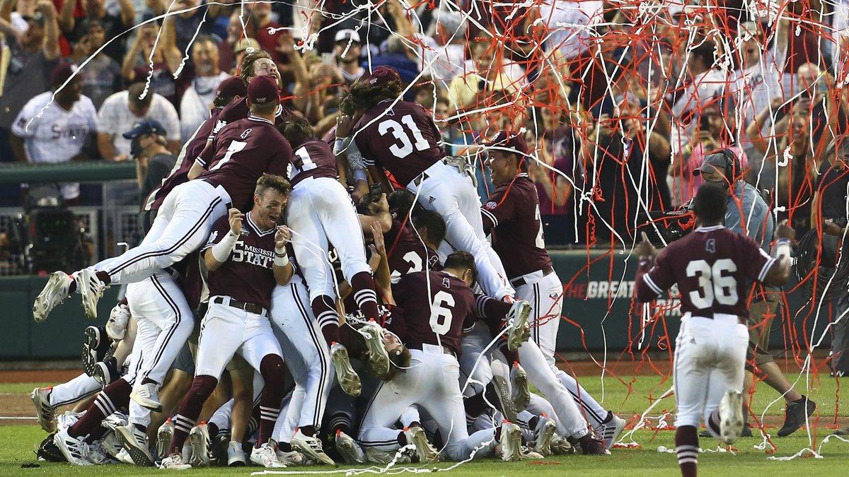 Mississippi State celebrates after winning the College World Series 9-0 against Vanderbilt in...