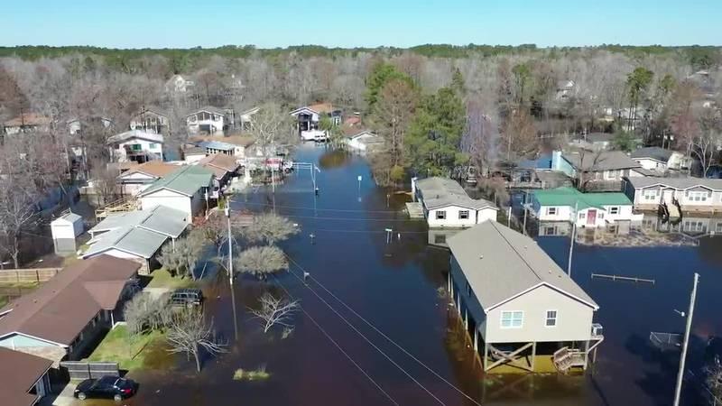 Drone footage of flooding in Rosewood neighborhood in Socastee
