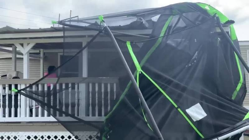 A trampoline was thrown against a house during a possible tornado in Marion County Thursday...