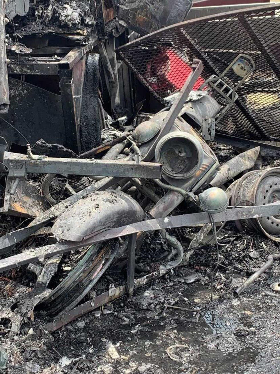 Charred motorcycle from Hwy 38 crash (Source: Brightsville Volunteer Fire Department)