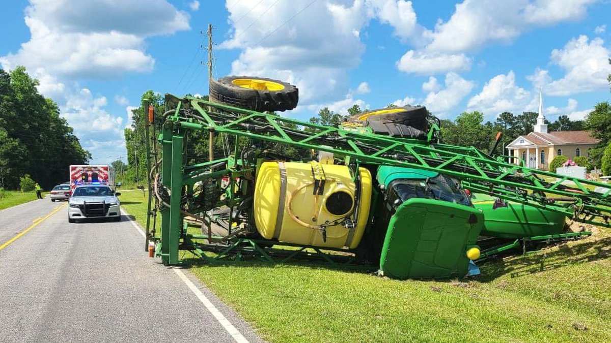A tractor overturned in the area of Green Sea Road Wednesday afternoon.