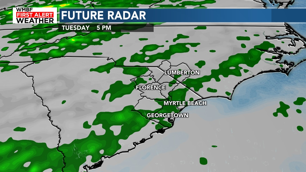 Rain chances increase to 40% starting on Tuesday.
