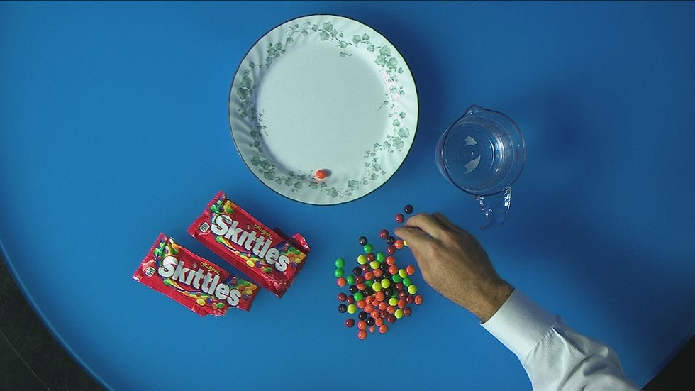 Skittles, a plate and warm water