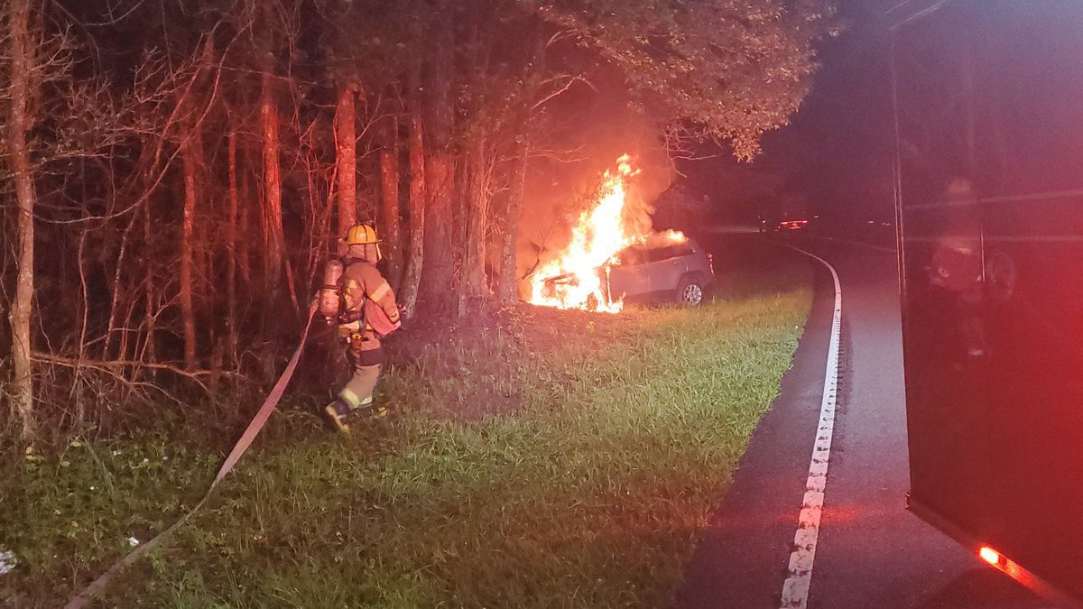 A vehicle caught fire after hitting a tree early Wednesday morning, according to Horry County...