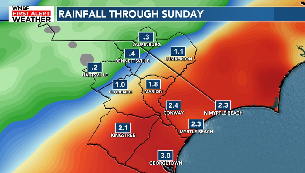 We're expecting to pick up an additional 1-3 inches of rainfall by the end of the weekend.