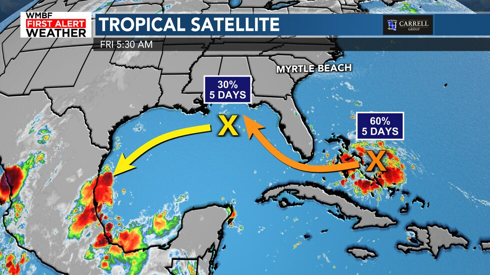 The chances of development continue to increase with a system in the Gulf of Mexico and one in...