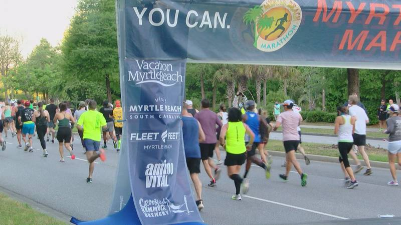 Runners cross the start line for the Myrtle Beach Marathon. To avoid crowds, start times we're...