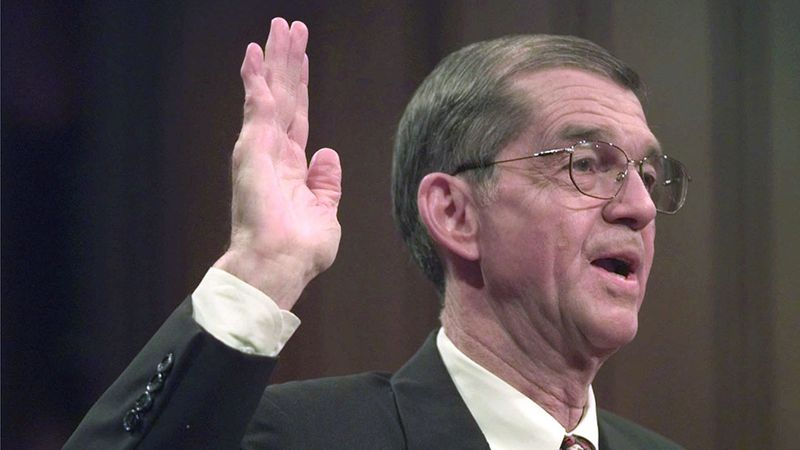 FILE - Former Chairman of the Democratic National Committee Don Fowler takes the oath as he...