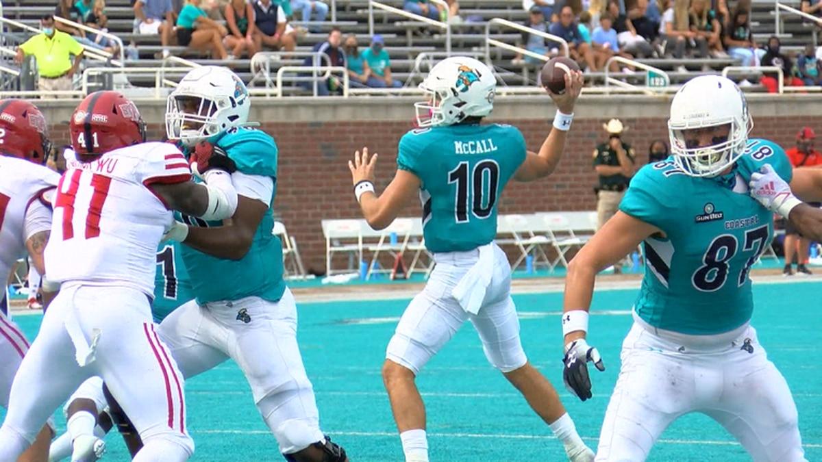 Grayson McCall had 4 TD passes as Coastal Carolina beat Arkansas State 52-23 in the Sun Belt...