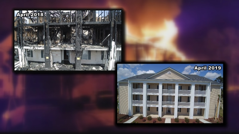 Before and after pictures show what condition the building was in after April 12, 2018 compared...