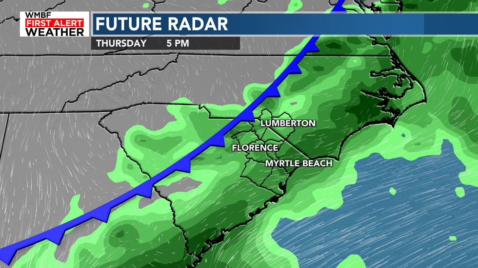 The cold front moves through the area on Thursday, bringing drier air behind it.