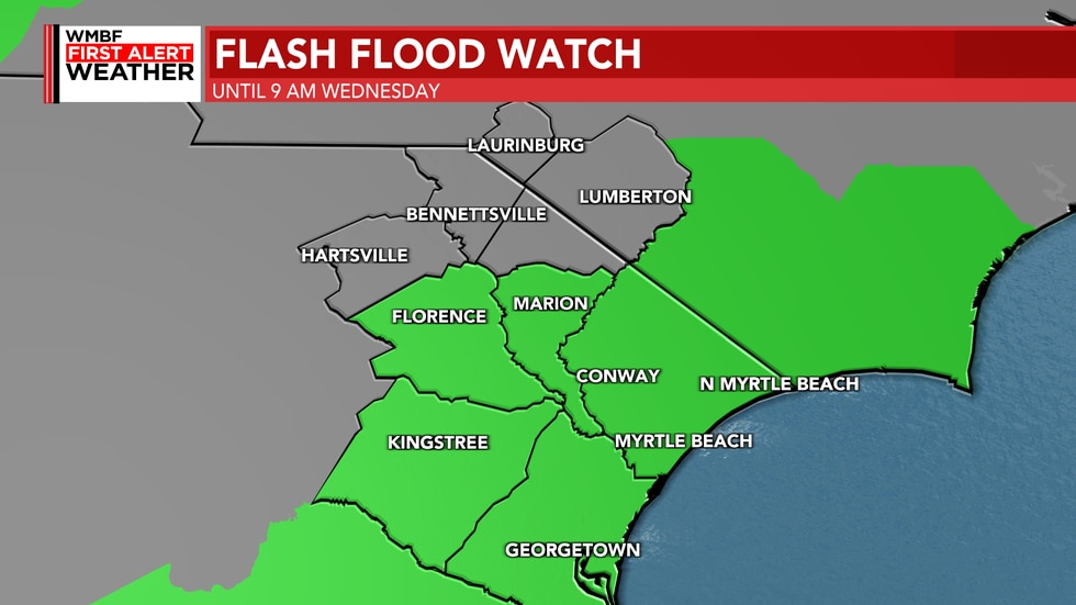 A Flash Flood Watch has been issued for the Grand Strand, Marion, Florence and Williamsburg...
