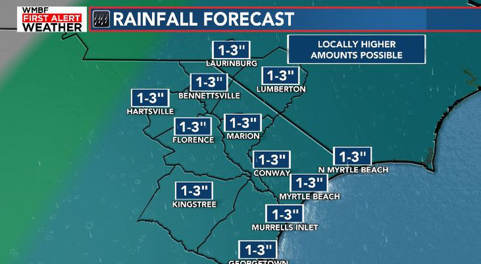 1-3 Inches of rain likely for most of the area.