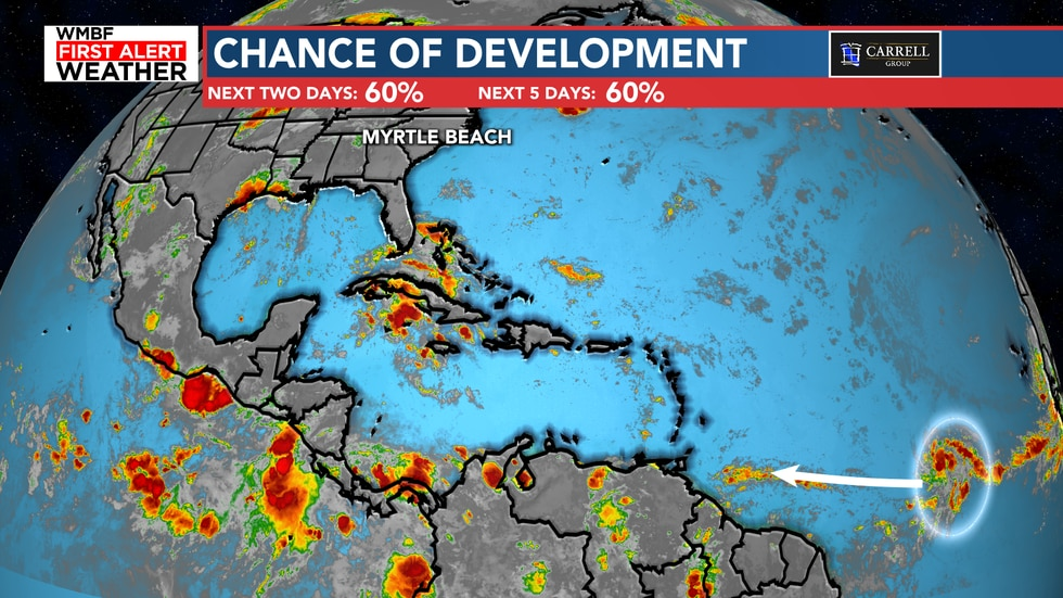 The chance of development is at 60% over the next two and five days.