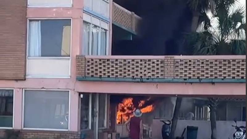 The blaze happened at the Shady Rest Motel at 1900 South Ocean Boulevard around 5:45 p.m. Monday.