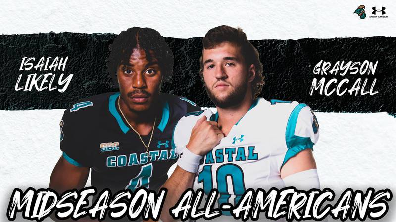 CCU tight end Isaiah Likely and quarterback Grayson McCall.