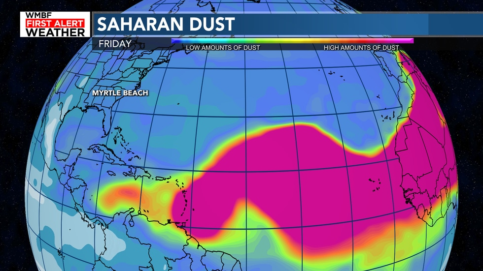 The plume of dust will continue to move to the west through the weekend.