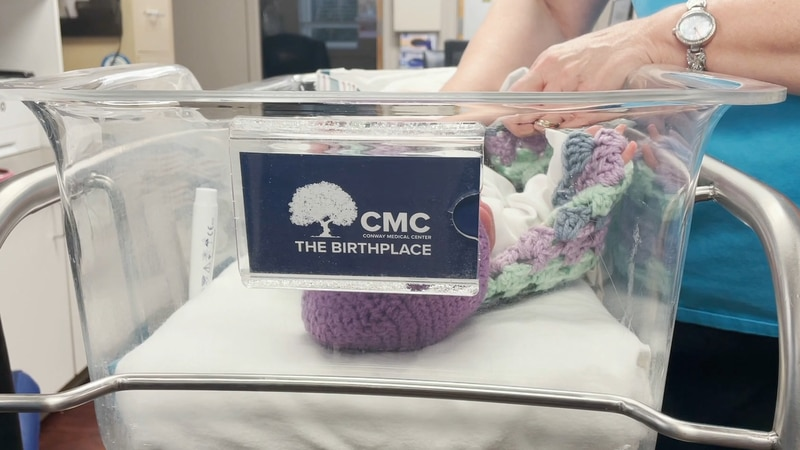 A Grand Strand group hand knits blankets for newborns and delivers them to Conway Medical Center.