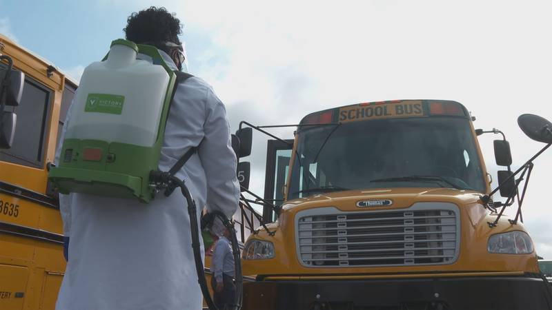 Staff will spray the inside of the buses before afternoon pickups and once again in the evening...