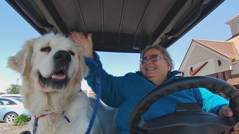 Suzanne waves to people while driving around Tanger Outlets with Tank sitting next to her. Tank...
