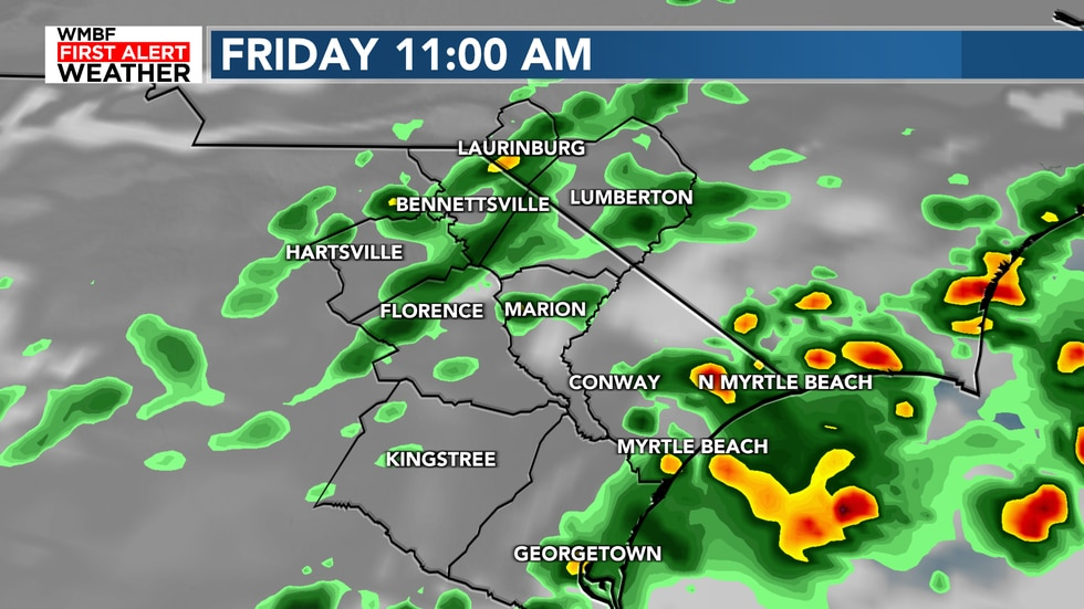 Clouds, scattered storms and some possible heavy rain return for Friday.