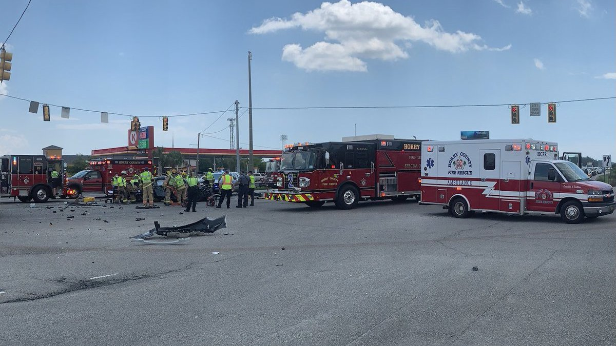 A three-vehicle crash with entrapment is causing traffic delays Wednesday in the Carolina...