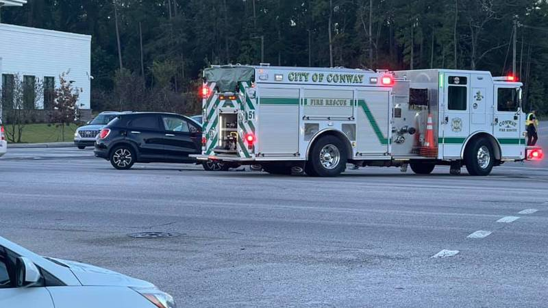 A traffic collision is slowing traffic Thursday morning in Conway.