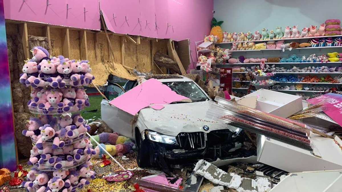 A car crashed through the Sugar Life candy and ice cream store in North Myrtle Beach on Friday...