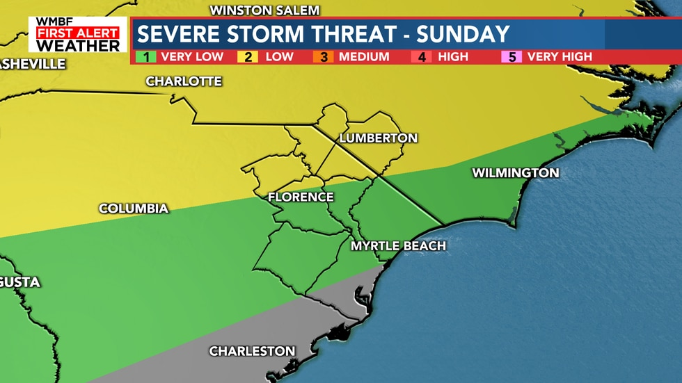 The threat for Sunday still remains off to the northwest with a late arriving cold front Sunday...