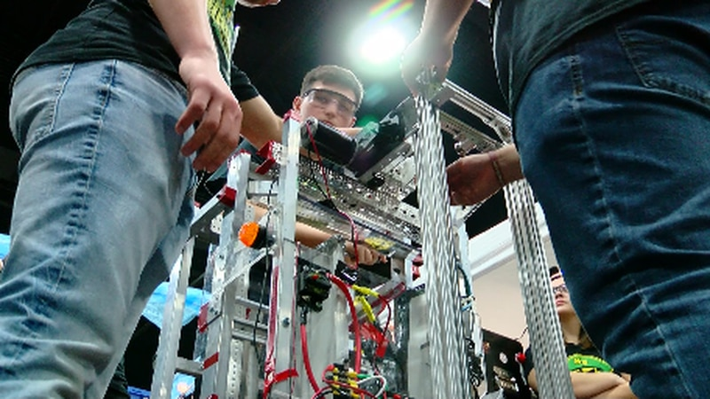 Testing, tuning up, and of course --- competing... students from all over the country are...