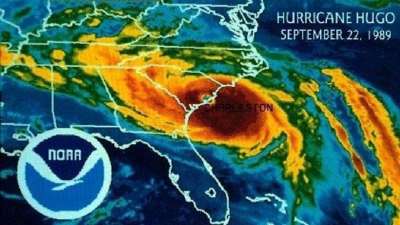 Hurricane Hugo coming ashore near Charleston