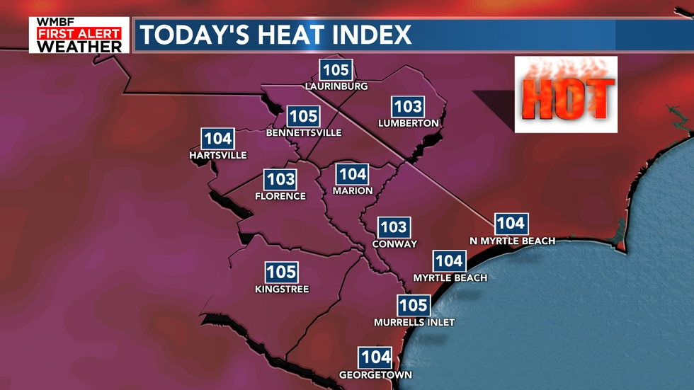The heat index will climb to 100-105 today with very little relief in sight.